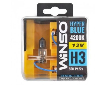 - Галогенные лампы Winso HYPER BLUE H3 12V 4200K 55W PK22s 2 шт (712350) -