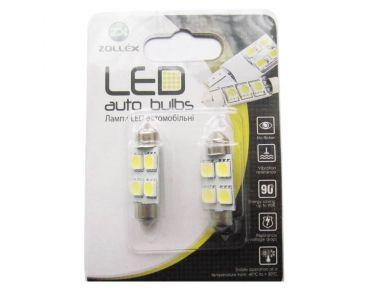 Нейтралізатор запаху домашніх - Золлекс Zollex LED Festoon/36mm SMD5050x4 12V White (2шт) V2203 -