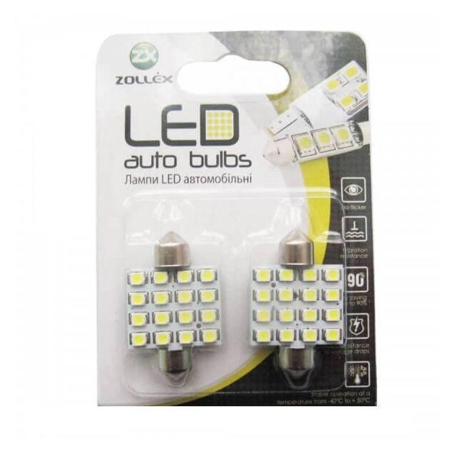 Zollex LED Festoon/36mm SMD2835x16 12V White (2шт) V2207 - 1