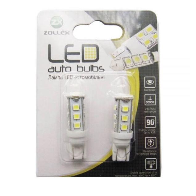 Zollex LED T10 SMD2835x16 12V White (2шт) T1104 - 1