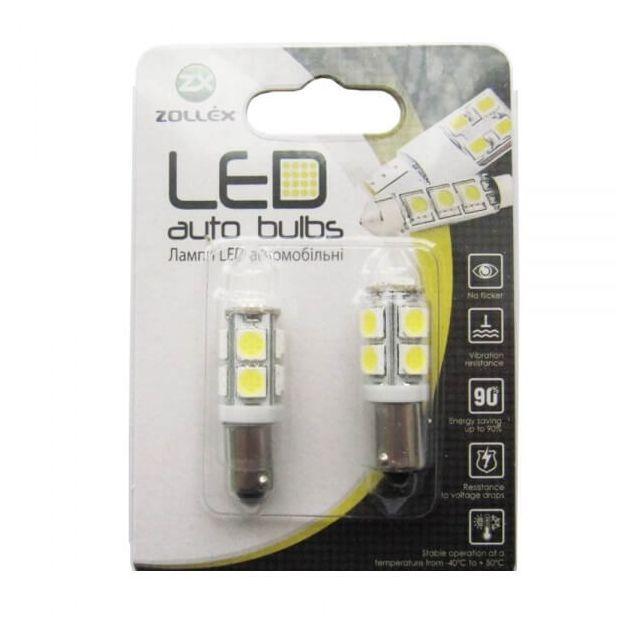 Zollex LED BA9S SMD5050x9 12V White (2шт) S1115 - 1