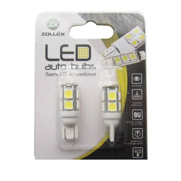 Zollex LED T10 SMD5730x10 12V White (2шт) T11136 - 1