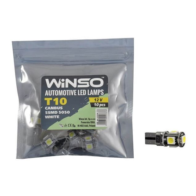 LED лампа Winso T10 12V SMD5050 W2.1x9.5d Canbus 127370 - 1