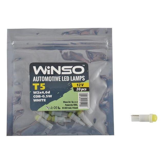 Автолампа WINSO 12V COB T5 W2x4.6d 1LED 0,5W white 127190 - 1