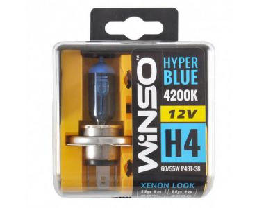- Галогенные лампы Winso HYPER BLUE H4 12V 4200K 60/55W P43t-38 (712450) -