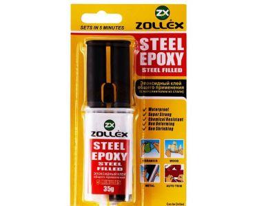 Герметики и клеи - Zollex Эпоксид.клей нап.со стали 35г ST-400 2-комп(шприц)