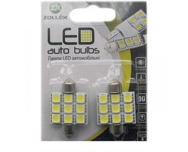 Нейтралізатор запаху домашніх - Zollex LED Festoon/36mm SMD5050x9 12V White (2шт) V2205 -
