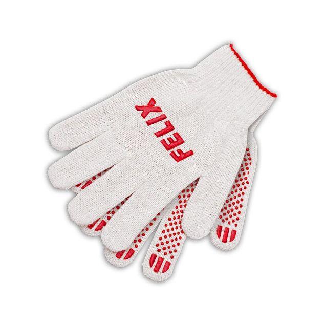 Перчатки хлопковые Felix с пвх-покрытием (белые) - 1