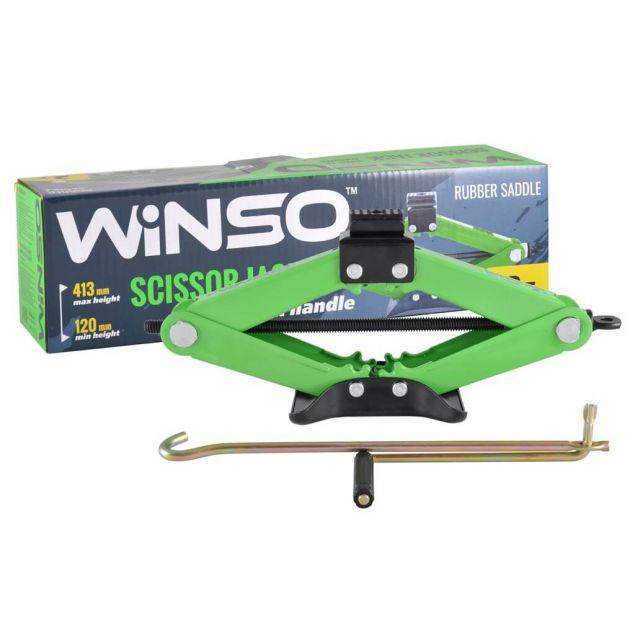 Домкрат ромбовый Winso 122100 с резиновой подушкой 2 т 120-413мм - 1
